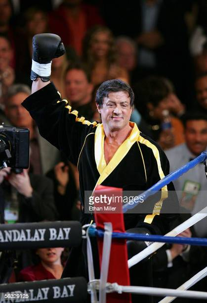Actor Sylvester Stallone waves to the crowd as scenes from the film 'Rocky VI' are filmed before the start of the Bernard Hopkins and Jermain Taylor...