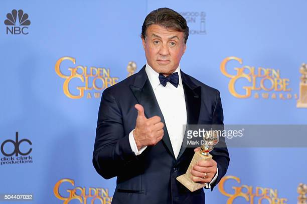 Actor Sylvester Stallone winner of Best Supporting Performance in a Motion Picture for 'Creed' poses in the press room during the 73rd Annual Golden...