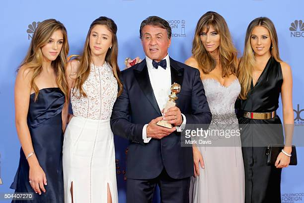 Actor Sylvester Stallone winner of Best Supporting Performance in a Motion Picture for 'Creed' poses in the press room with wife Jennifer Flavin and...