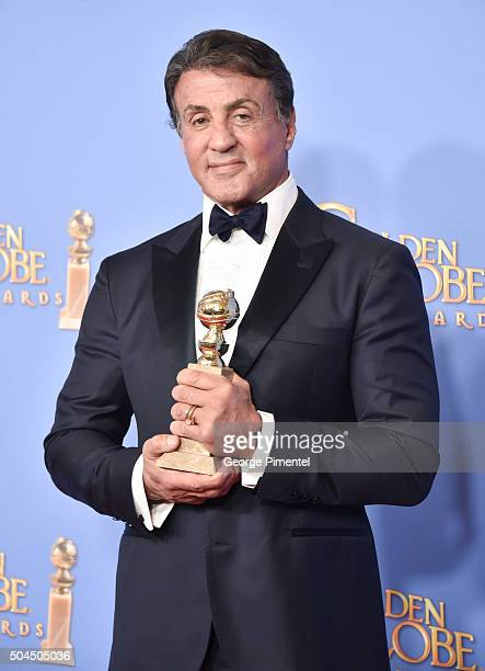 Actor Sylvester Stallone winner of the award for Best Performance by an Actor in a Supporting Role in any Motion Picture for 'Creed' poses in the...
