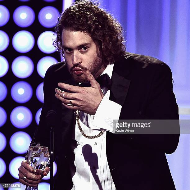 Actor T J Miller accepts the Best Supporting Actor in a Comedy Series award for 'Silicon Valley' onstage during the 5th Annual Critics' Choice...