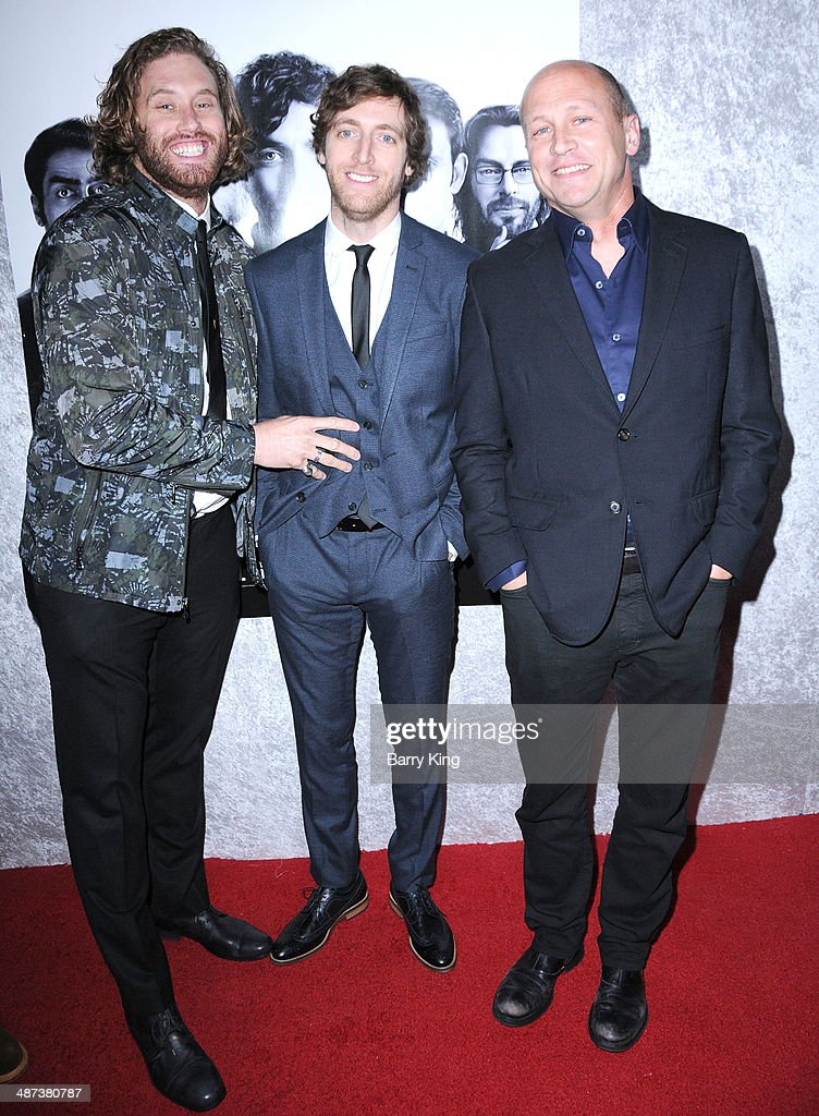 Actor T. J. Miller, actor <a gi-track='captionPersonalityLinkClicked' href=/galleries/search?phrase=Thomas+Middleditch&family=editorial&specificpeople=7827475 ng-click='$event.stopPropagation()'>Thomas Middleditch</a> and creator/executive producer <a gi-track='captionPersonalityLinkClicked' href=/galleries/search?phrase=Mike+Judge&family=editorial&specificpeople=1145329 ng-click='$event.stopPropagation()'>Mike Judge</a> arrive at the premiere of 'Silicon Valley' on April 3, 2014 at Paramount Studios in Hollywood, California.