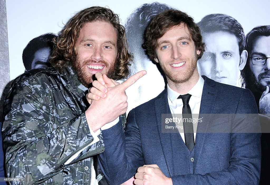 Actor T. J. Miller (L) and actor Thomas Middleditch (R) arrive at the premiere of 'Silicon Valley' on April 3, 2014 at Paramount Studios in Hollywood, California.