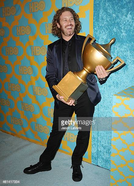 Actor T J Miller attends HBO's post Golden Globe Awards party at The Beverly Hilton Hotel on January 11 2015 in Beverly Hills California