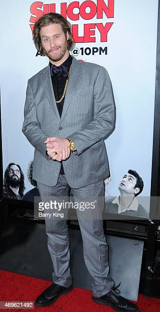 Actor T J Miller attends the HBO 'Silicon Valley' season 2 premiere at the El Capitan Theatre on April 2 2015 in Hollywood California
