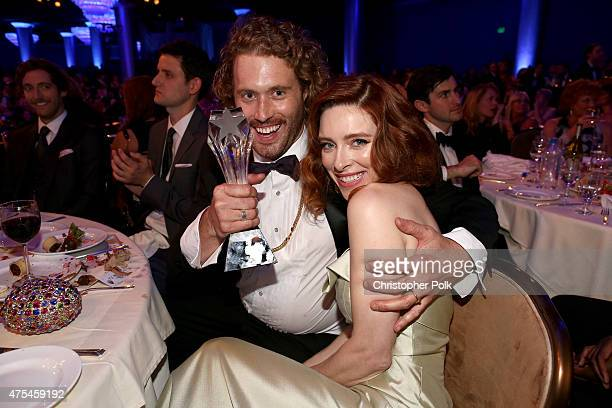 Actor T J Miller winner of the Best Supporting Actor in a Comedy Series award for 'Silicon Valley' and actress Kate Gorney pose during the 5th Annual...