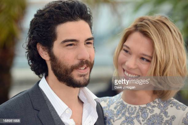 Actor Tahar Rahim and actress Lea Seydoux attend the 'Grand Central' Photocall during The 66th Annual Cannes Film Festival at Palais des Festivals on...