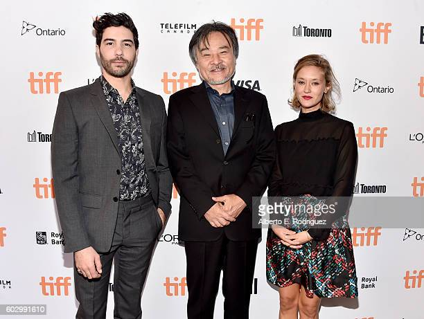 Actor Tahar Rahim filmmaker Kiyoshi Kurosawa and actress Constance Rousseau attend the 'Daguerrotype' premiere during the 2016 Toronto International...
