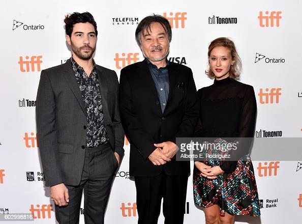 Actor Tahar Rahim filmmaker Kiyoshi Kurosawa and actress Constance Rousseau attend the 'Daguerrotype' premiere during the 2016 Toronto International...