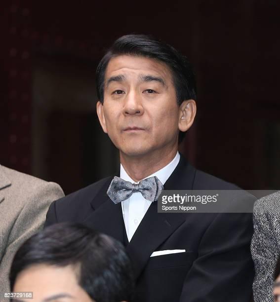 Actor Takashi Kobayashi attends press conference of Fuji TV drama 'Murder on the Orient Express ' on September 14 2014 in Tokyo Japan