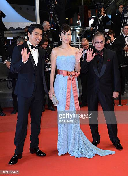 Actor Takashi Miike actress Nanako Matsushima and director Takao Osawa attends the 'Wara No Tate' Premiere during the 66th Annual Cannes Film...