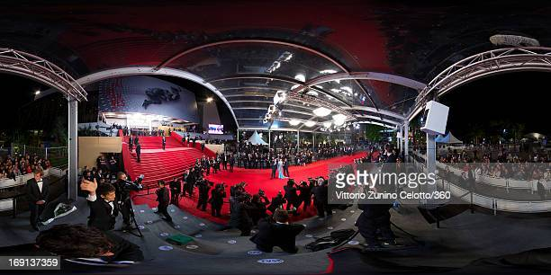 Actor Takashi Miike actress Nanako Matsushima and director Takao Osawa attend the 'Wara No Tate' Premiere during the 66th Annual Cannes Film Festival...