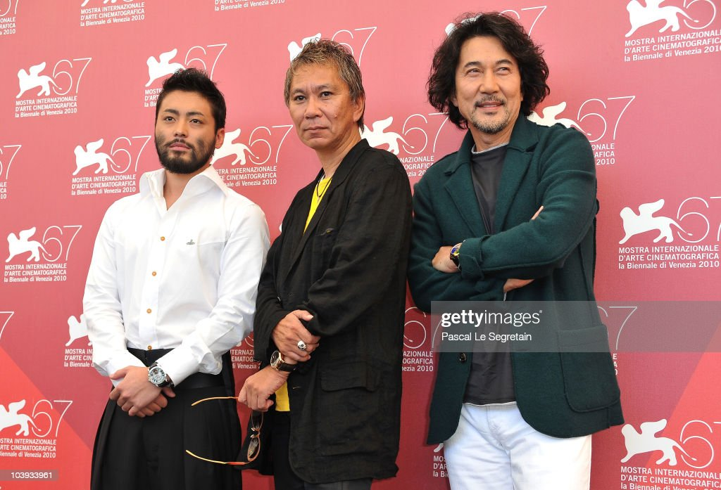 Actor Takayuki Yamada, director <a gi-track='captionPersonalityLinkClicked' href=/galleries/search?phrase=Takashi+Miike&family=editorial&specificpeople=822402 ng-click='$event.stopPropagation()'>Takashi Miike</a> and actor <a gi-track='captionPersonalityLinkClicked' href=/galleries/search?phrase=Koji+Yakusho&family=editorial&specificpeople=616781 ng-click='$event.stopPropagation()'>Koji Yakusho</a> attend the 'Zebraman' and '13 Assassins' photocall during 67th Venice Film Festival at the Palazzo del Casino on September 9, 2010 in Venice, Italy.