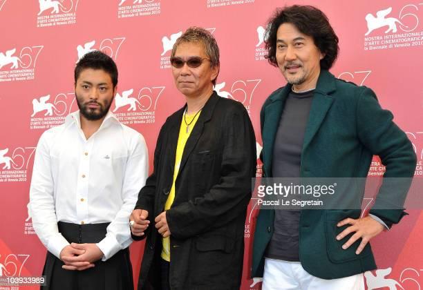 Actor Takayuki Yamada director Takashi Miike and actor Koji Yakusho attend the 'Zebraman' and '13 Assassins' photocall during 67th Venice Film...