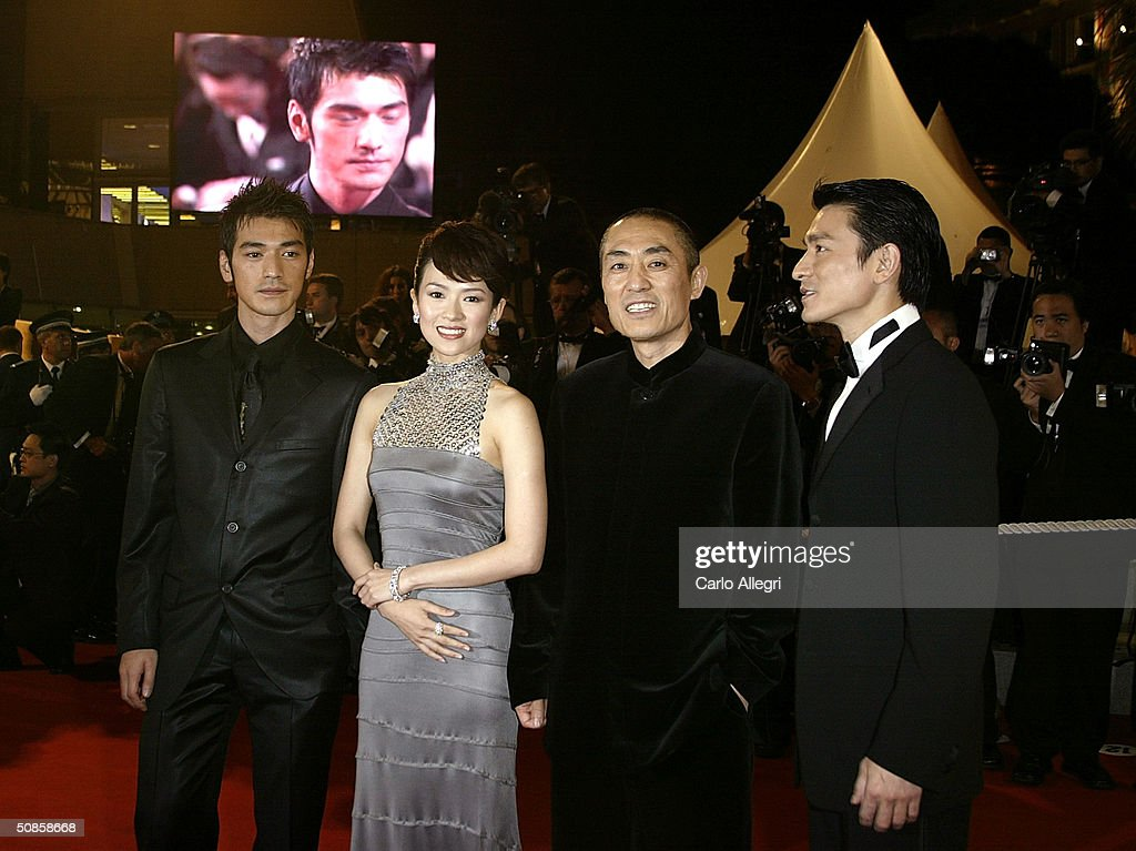 Actor Takeshi Kaneshiro, actress Ziyi Zhang, director Yimou Zhang and actor Andy Lau attend the premiere of 'House of Flying Daggers' atthe Palais de Festival during the 57th Annual International Cannes Film Festival May 19, 2004 in Cannes, France.
