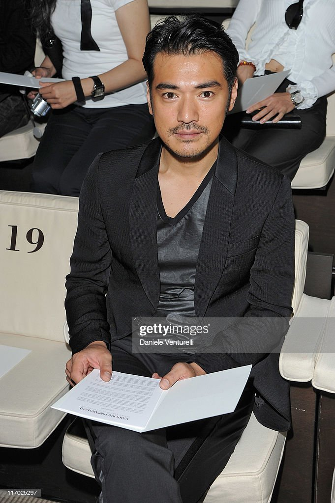 Actor <a gi-track='captionPersonalityLinkClicked' href=/galleries/search?phrase=Takeshi+Kaneshiro&family=editorial&specificpeople=171924 ng-click='$event.stopPropagation()'>Takeshi Kaneshiro</a> attends the Emporio Armani fashion show as part of Milan Fashion Week Menswear Spring/Summer 2012 on June 19, 2011 in Milan, Italy.