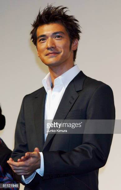 Actor Takeshi Kaneshiro attends the Japan Premiere for the film 'Lovers' on July 28 2004 in Tokyo Japan The film opens on August 28 in Japan