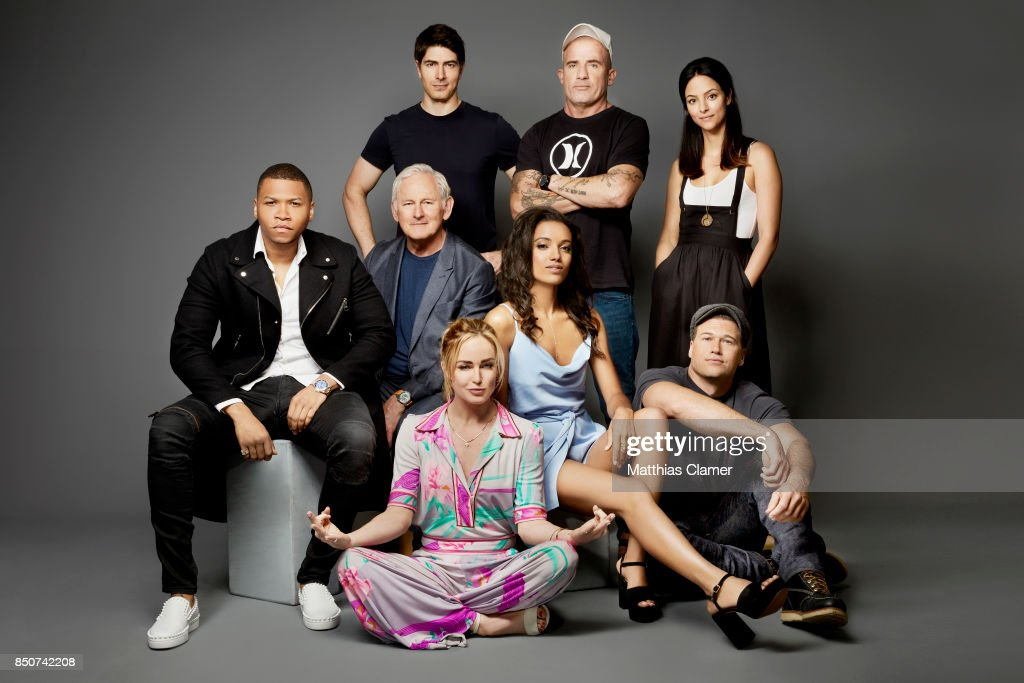 Actor Tala Ashe, Brandon Routh, Dominic Purcell, Franz Drameh, Victor Garber, Caity Lotz, Maisie Richardson-Sellers and Nick Zano from DC's Legends of Tomorrow are photographed for Entertainment Weekly Magazine on July 22, 2017 at Comic Con in San Diego, California. PUBLISHED