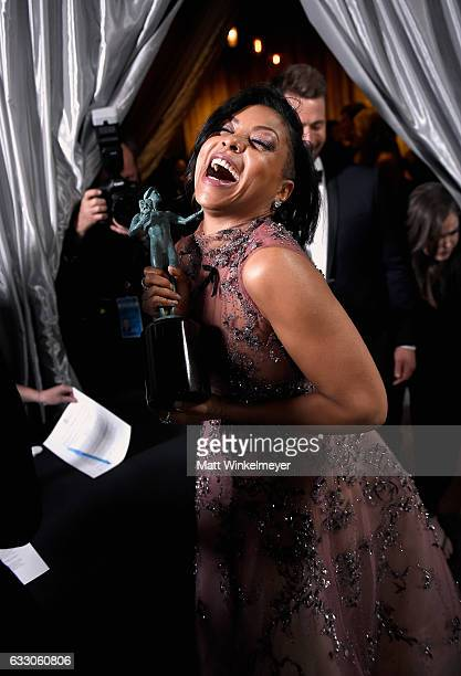 Actor Taraji P Henson corecipient of the Outstanding Performance by a Cast in a Motion Picture award for 'Hidden Figures' poses in the press room...