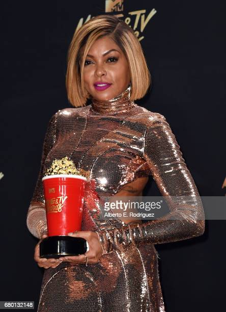 Actor Taraji P Henson winner of Best Fight Against the System for 'Hidden Figures' poses in the press room during the 2017 MTV Movie And TV Awards at...