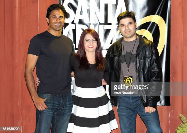Actor Tarun Shetty production manager Yalda Sadiq and director Atif Mirza appear for the film Bobby Khan's Ticket to Hollywood screened at the Santa...