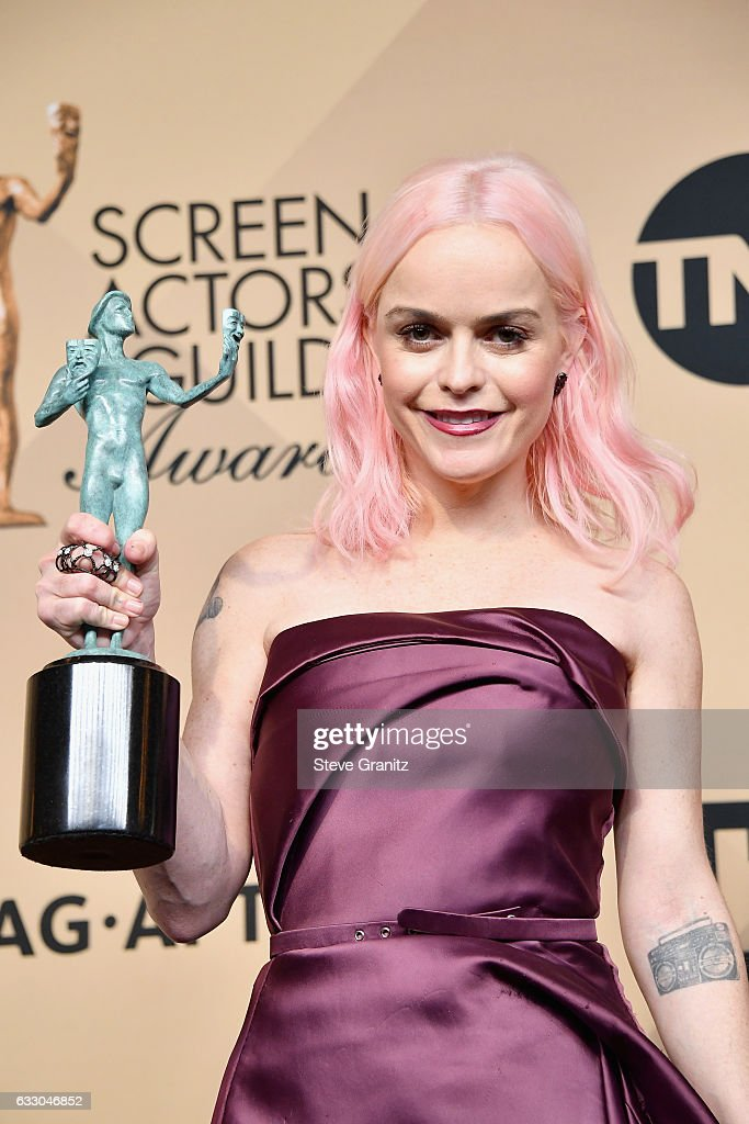 Actor Taryn Manning, winner of the Outstanding Ensemble in a Comedy Series award of 'Orange Is the New Black,' pose in the press room during the 23rd Annual Screen Actors Guild Awards at The Shrine Expo Hall on January 29, 2017 in Los Angeles, California.
