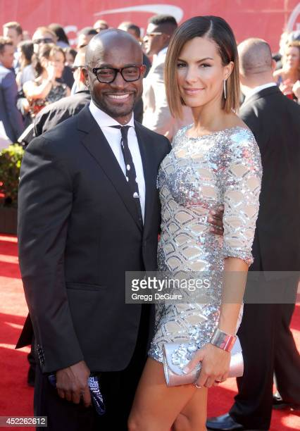 Actor Taye Diggs and girlfriend Amanza Smith Brown arrive at the 2014 ESPY Awards at Nokia Theatre LA Live on July 16 2014 in Los Angeles California