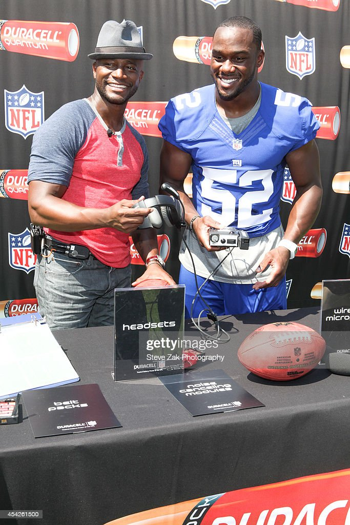 Actor Taye Diggs and New York Giants AllPro Linebacker Jon Beason attend Duracell Interactive Tour Of MetLife Stadium at MetLife Stadium on August 27...