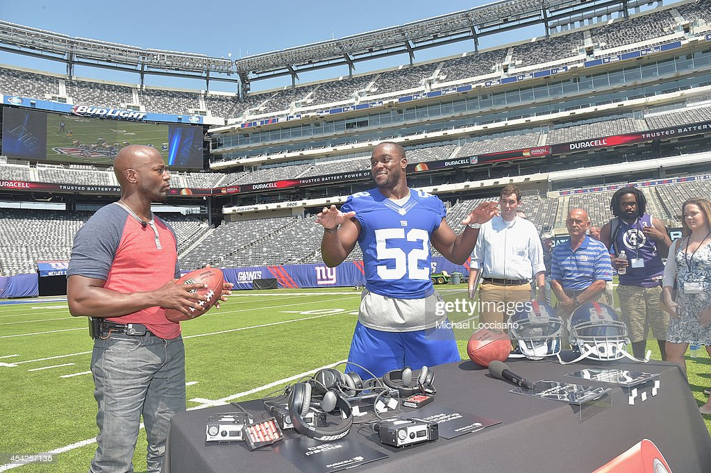 Actor <a gi-track='captionPersonalityLinkClicked' href=/galleries/search?phrase=Taye+Diggs&family=editorial&specificpeople=206415 ng-click='$event.stopPropagation()'>Taye Diggs</a> (L) and professional football player <a gi-track='captionPersonalityLinkClicked' href=/galleries/search?phrase=Jon+Beason&family=editorial&specificpeople=2109827 ng-click='$event.stopPropagation()'>Jon Beason</a> attend an interactive tour of MetLife Stadium on August 27, 2014 in East Rutherford, New Jersey.