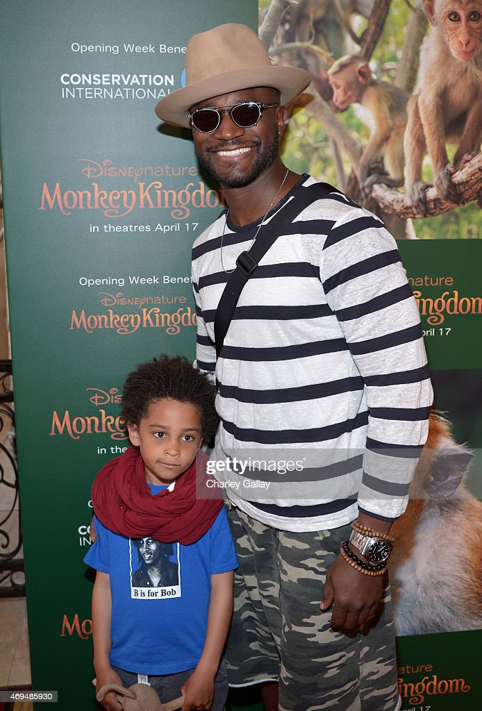 Actor Taye Diggs and son Walker Diggs attend the world premiere Of Disney's 'Monkey Kingdom' at Pacific Theatres at The Grove on April 12 2015 in Los...