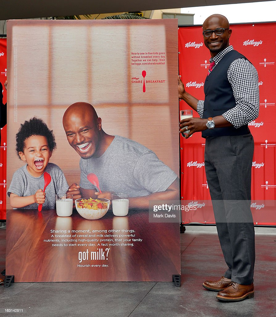 Actor <a gi-track='captionPersonalityLinkClicked' href=/galleries/search?phrase=Taye+Diggs&family=editorial&specificpeople=206415 ng-click='$event.stopPropagation()'>Taye Diggs</a> attends the unveiling of the new Milk Mustache 'got milk?' ad campaign at Hollywood and Highland on March 5, 2013 in Hollywood, California. <a gi-track='captionPersonalityLinkClicked' href=/galleries/search?phrase=Taye+Diggs&family=editorial&specificpeople=206415 ng-click='$event.stopPropagation()'>Taye Diggs</a> and son Walker star in a Milk Mustache Ad showcasing the role milk's protein plays at their breakfast table. The ad supports Kellogg's efforts to share breakfast with children in need through the Share Breakfast program.