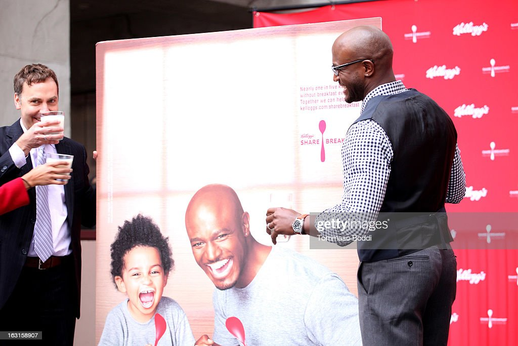 Actor <a gi-track='captionPersonalityLinkClicked' href=/galleries/search?phrase=Taye+Diggs&family=editorial&specificpeople=206415 ng-click='$event.stopPropagation()'>Taye Diggs</a> unveils first-ever milk mustache ad as part of the share breakfast program at Hollywood & Highland Courtyard on March 5, 2013 in Hollywood, California.