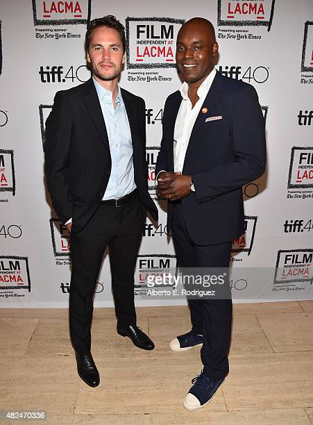 Actor Taylor Kitsch and TIFF Artistic Director Cameron Bailey attend Film Independent at LACMA presents CAN/LA opening night at Bing Theatre At LACMA...