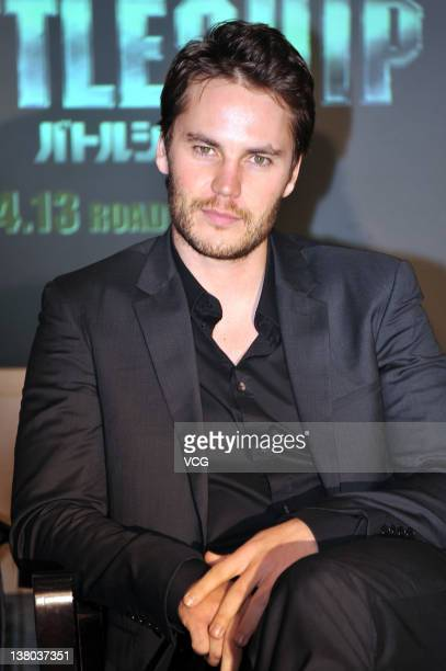 Actor Taylor Kitsch attends the 'Battleship' press conference at Grand Hyatt Tokyo on January 31 2012 in Tokyo Japan The film will open on April 13...