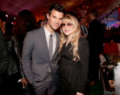 Actor Taylor Lautner and musician Stevie Nicks attend the premiere of Summit Entertainment's'The Twilight Saga Breaking Dawn Part 2' after party at...