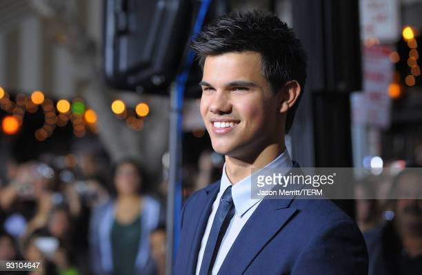 Actor Taylor Lautner arrives at the Los Angeles premiere of Summit Entertainment's 'The Twilight Saga New Moon' at Mann Westwood on November 16 2009...