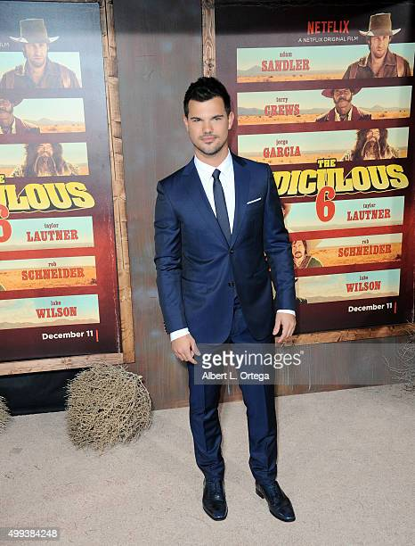 Actor Taylor Lautner arrives for the premiere of Netflix's 'The Ridiculous 6' held at AMC Universal City Walk on November 30 2015 in Universal City...