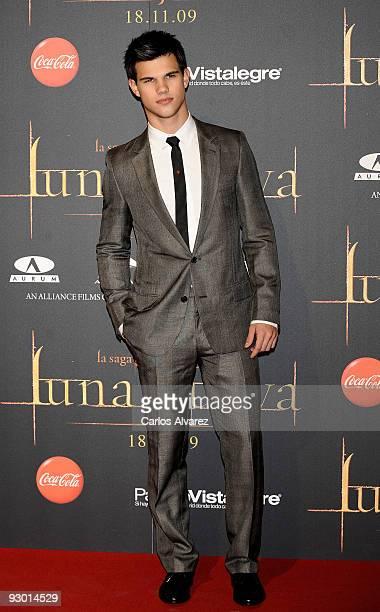 Actor Taylor Lautner attends 'Twilight Saga New Moon' Fans Event at Palacio de Vistalegre on November 12 2009 in Madrid Spain