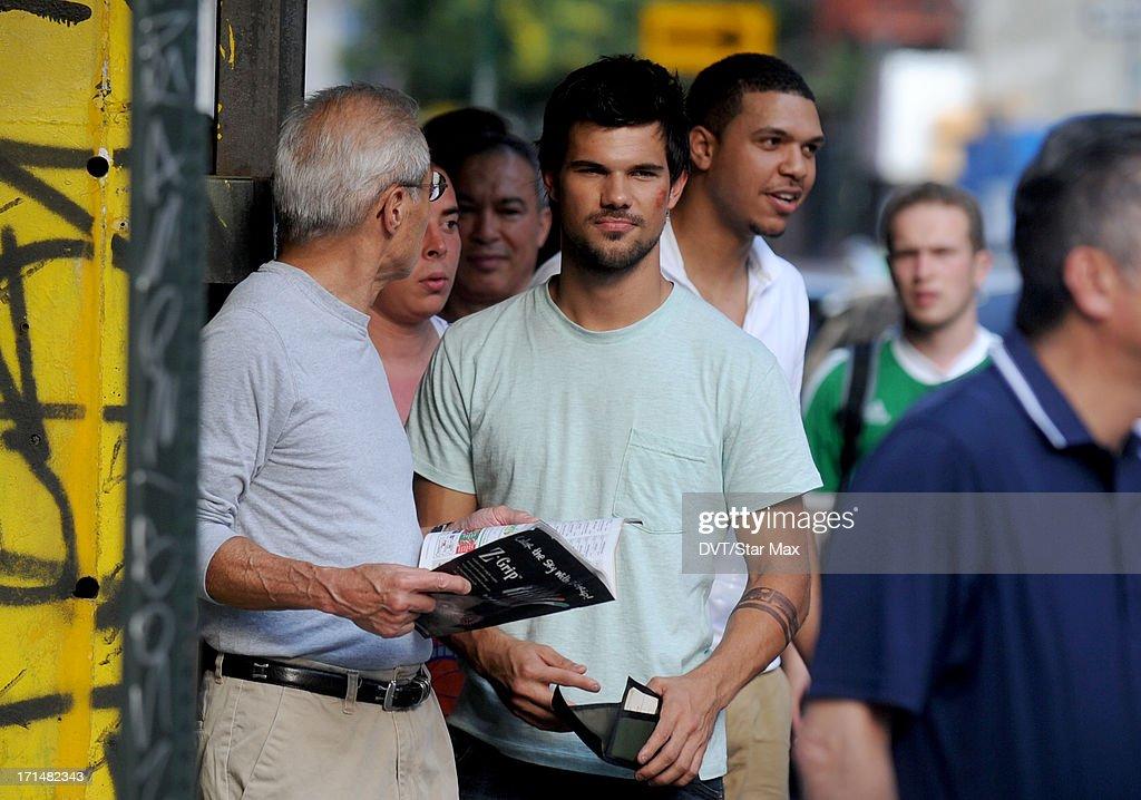 Actor Taylor Lautner is seen filming on June 24, 2013 in New York City.