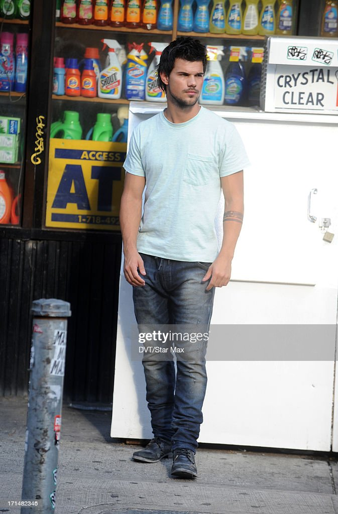 Actor Taylor Lautner is seen filming on June 24, 2013 in New York City.