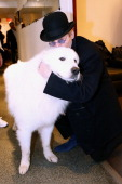 Actor Tcheky Karyo with the dog Berger presents the movie 'Belle et Sebastien' during the 'Vivement Dimanche' French TV Show at Pavillon Gabriel on...