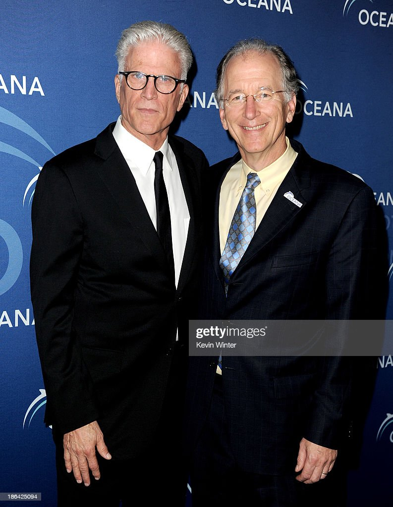 Actor <a gi-track='captionPersonalityLinkClicked' href=/galleries/search?phrase=Ted+Danson&family=editorial&specificpeople=210692 ng-click='$event.stopPropagation()'>Ted Danson</a> (L) and Andy Sharpless, CEO, Oceana arrive at the Oceana Partners Award Gala at the Beverly Wilshire Hotel on October 30, 2013 in Beverly Hills, California.