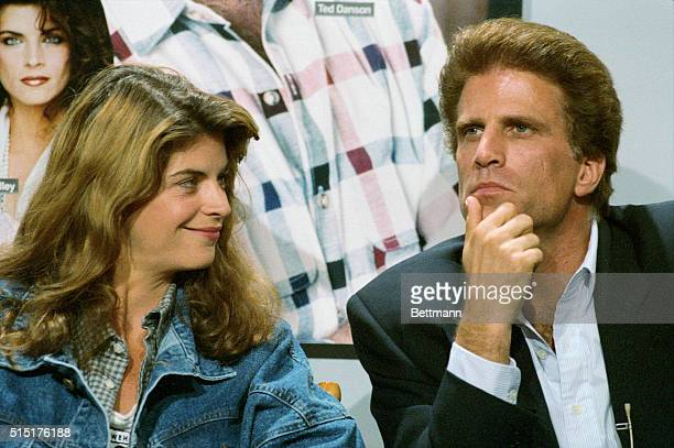 Actor Ted Danson ponders a question from the media as he and Kirstie Alley answer questions about their show Cheers during NBC's press tour 7/27...