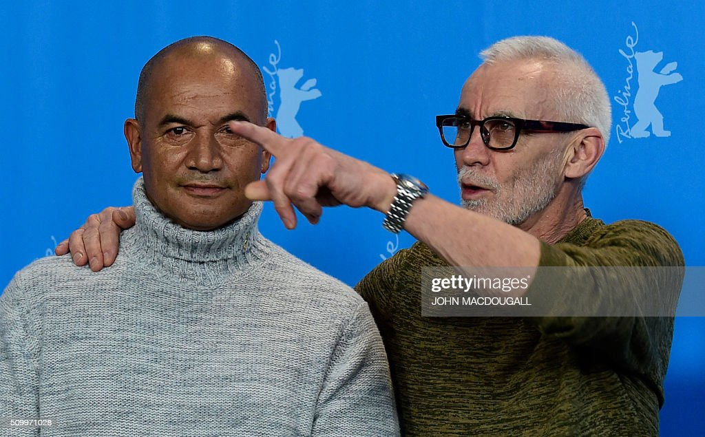 Actor Temuera Morrison and director Lee Tamahori pose during a photocall for the film 'Mahana / The Patriarch' at the Berlinale Film Festival in Berlin on February 13, 2016. / AFP / John MACDOUGALL