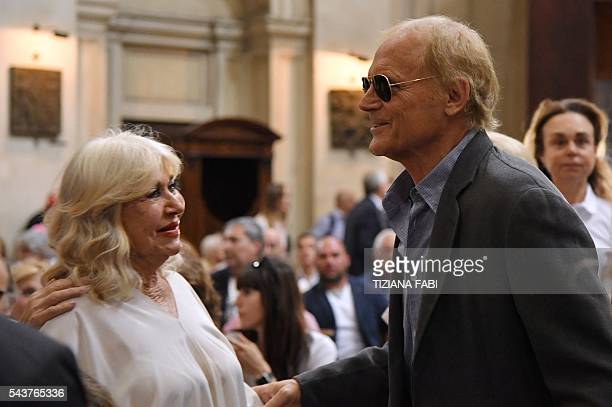 Actor Terence Hill whose real name is Mario Girotti arrives at the funeral of Italian actor Bud Spencer born Carlo Pedersoli at the church of the...