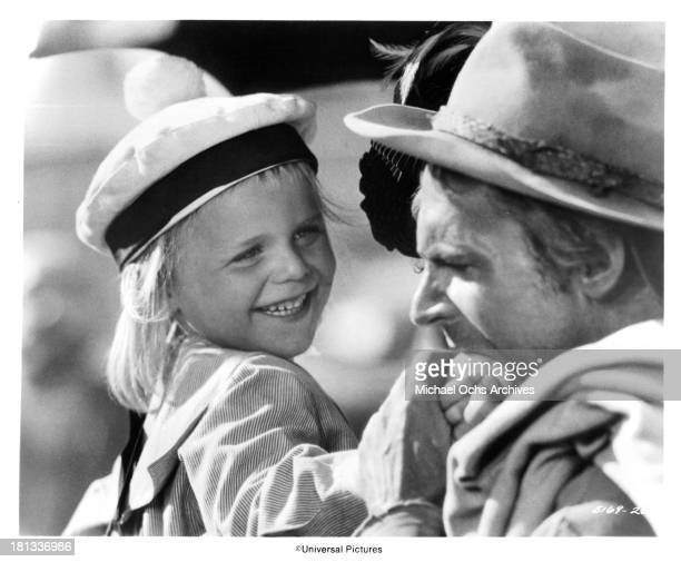 Actor Terence Hill with youngster on set of the Universal Studio movie 'My Name Is Nobody' in 1973