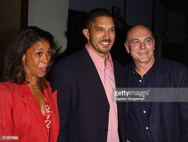 Actor Terrell Tilford and actor Carmen Argenziano attend the after party for 'Take Me Out' Premieres At The Geffen Theatre at the Geffen Playhouse at...