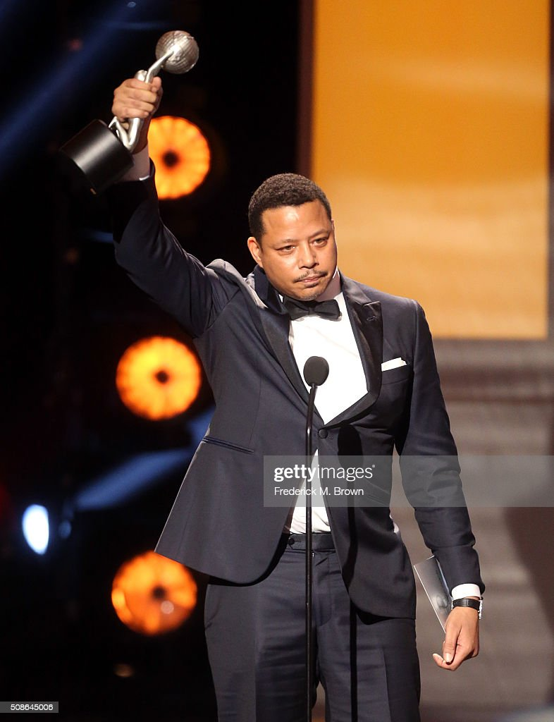 Actor Terrence Howard accepts award for Outstanding Actor in a Drama Series for 'Empire' onstage during the 47th NAACP Image Awards presented by TV One at Pasadena Civic Auditorium on February 5, 2016 in Pasadena, California.