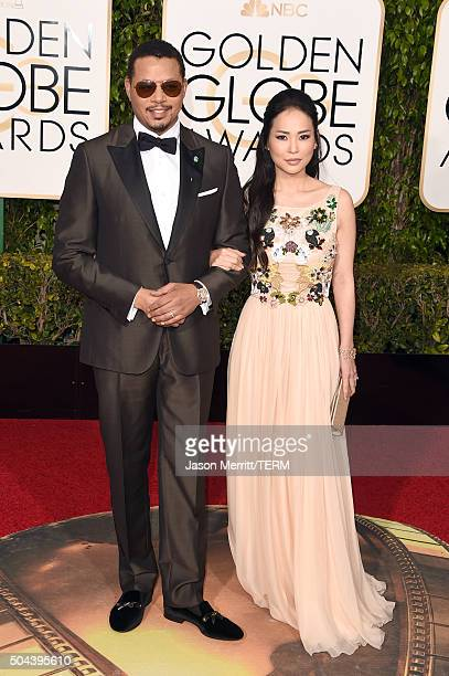 Actor Terrence Howard and Mira Pak attend the 73rd Annual Golden Globe Awards held at the Beverly Hilton Hotel on January 10 2016 in Beverly Hills...