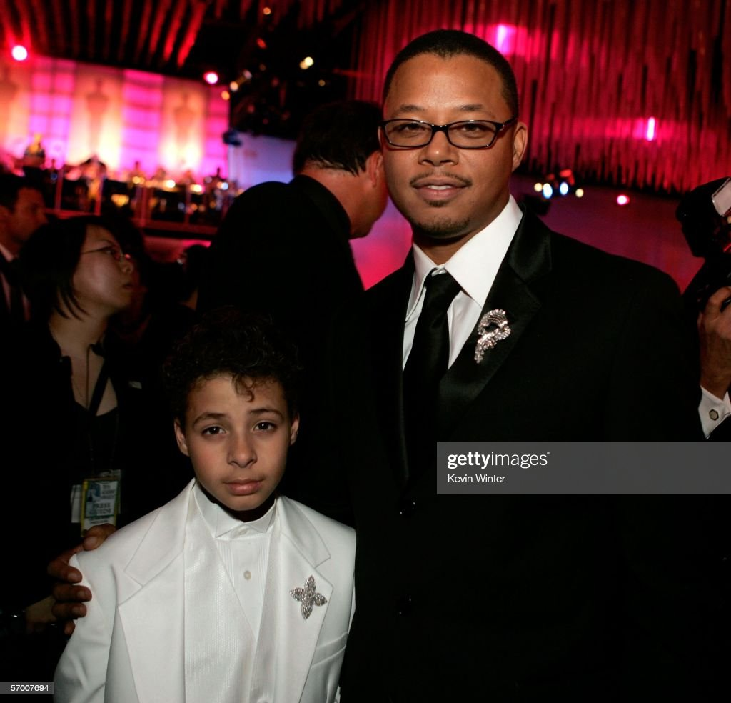 Actor Terrence Howard (R) and son Hunter attend the Governor's Ball after the 78th Annual Academy Awards at The Highlands on March 5, 2006 in Hollywood, California.